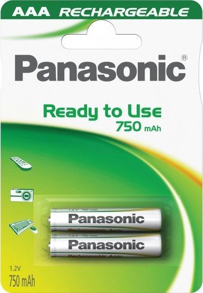 Panasonic επαναφορτιζόμενες NiMH AAA 1,2V 750mAh 2τμχ