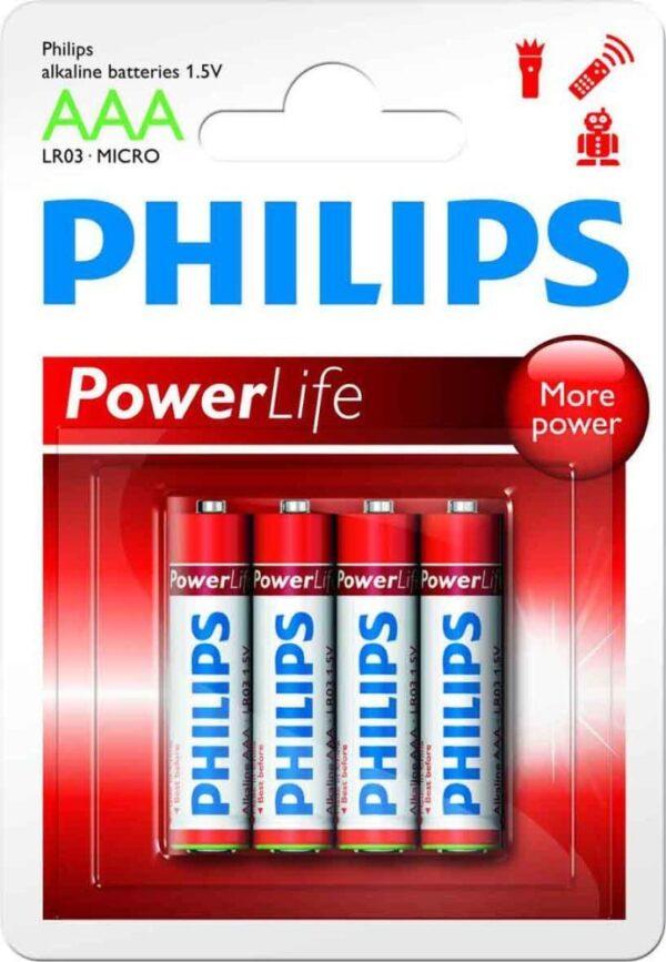 Philips αλκαλικές AAA 1.5V PowerLife 4τμχ